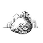 Vector vintage engraved ink illustration Money bag - hand drawn sketch icon moneybag dollar sign isolated on white background. Symbol of safe storage and wealth for a businessman