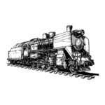 36398684 - illustration of a old steam locomotive stylized as engraving