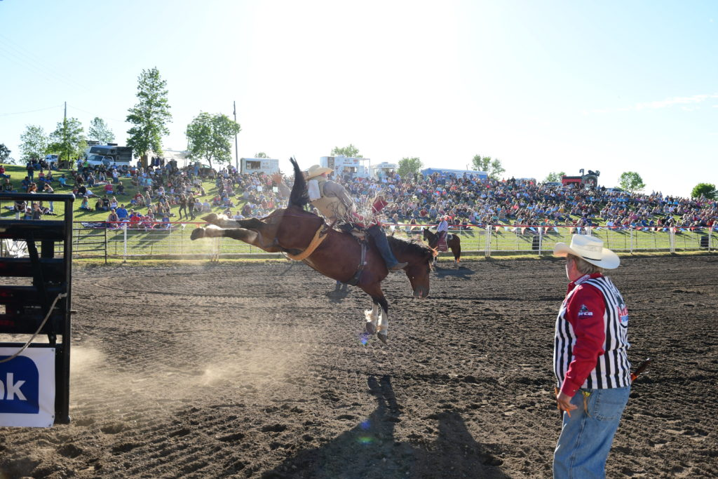 Bareback Riding kicks off the American Heroes PRCA Rodeo in 2017_photo credit Gretchen Kirchmann