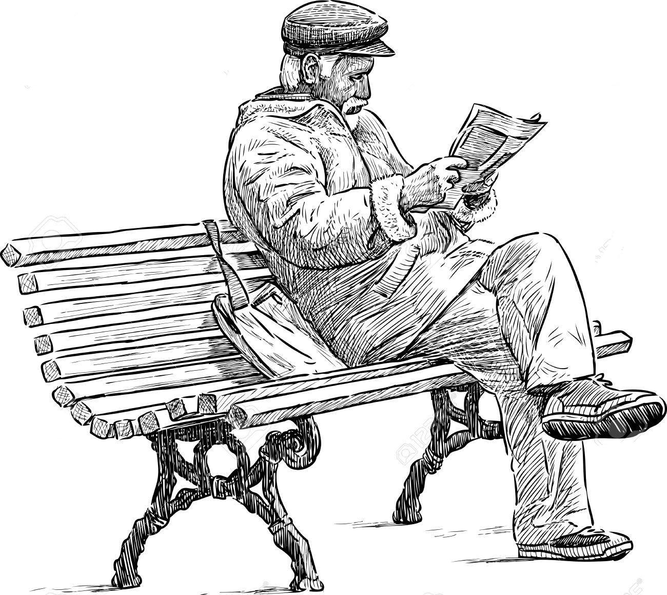 senior reading a newspaper